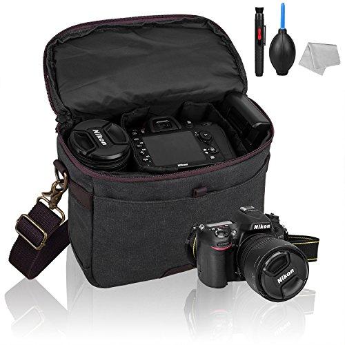 GINMIC Kameratasche, Fototasche für SLR mit Schultergurt und Zubehörfächer, Canvas Umhängetasche für DSLR und Objektiv mit Kamera reinigungsset.