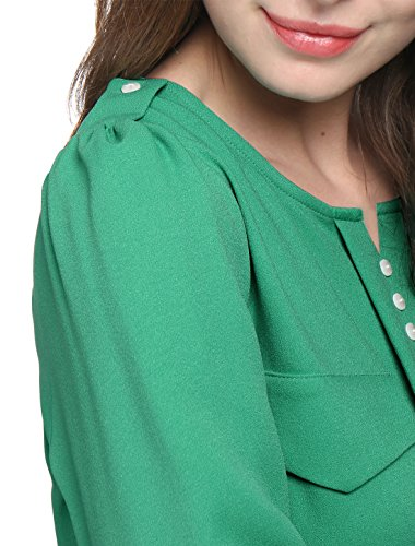 Allegra K Femme Col Fendu Pull-over Bouton Manches Longues Décor Ruché Chemise green