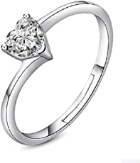 UC Jewellery Platinum Plated Rhinestone Heart Shaped Proposal Ring for Women(Silver)