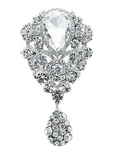 Unbekannt Große Vintage Wunderschöne Braut Strass Kristall Brosche mit Anhänger Silber (Strass Kristall Brosche)