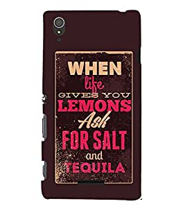 FUSON Lemons Salt And Tequila 3D Hard Polycarbonate Designer Back Case Cover for Sony Xperia T3