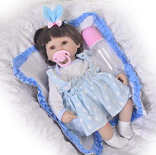 Unexceptionable-Dolls 17-Zoll-Reborn Newborn Bay Puppe aus weichem Silikon Vinyl Neugeborenen LOL Realistic Alive Princess Babies Kindergeburtstag 3_Blue_Eyes -