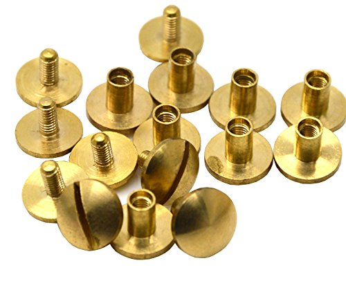 3/8 Spot (Okones3/8''Diameter*1/6''Tall,Solid Brass Nail Rivets Chicago Screws Studs Spike Screwback spot for Leather Craft Belt Wallet(3/8''Diameter*1/6''Height ) by Okones Art)