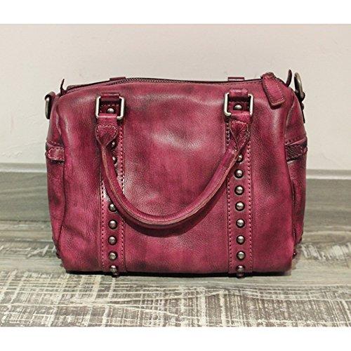 Nouveau original vintage sac messager pour ordinateur portable à la main la première couche de sacs en cuir ladies,Camel Purple