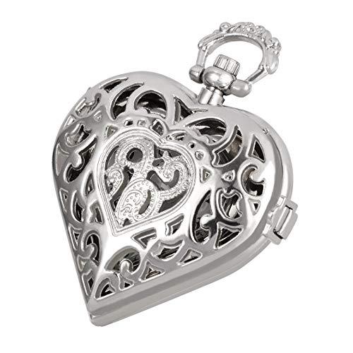 TREEWETO Damen Taschenuhr mit Kette Silber Analog Quarz Herzförmige Liebe Herz Medaillon Stil Anhänger Halskette Geschenkbox