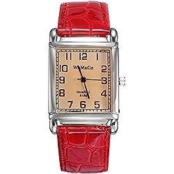 Fashion Square red PU strap unisex digital watch