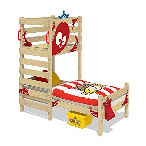 WICKEY Letto da gioco CrAzY Octopus Letto per bambini 90 x 200 Letto  singolo per cameretta bambino e bambina in legno con rete a doghe, rosso
