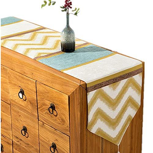 Chenille Jacquard Tischläufer, Einfacher Stil Gestreifte Tischtuchdekoration Für Den Innen- Und Außenbereich (32x180cm, 32x210cm) ++ (Size : 32x180cm)