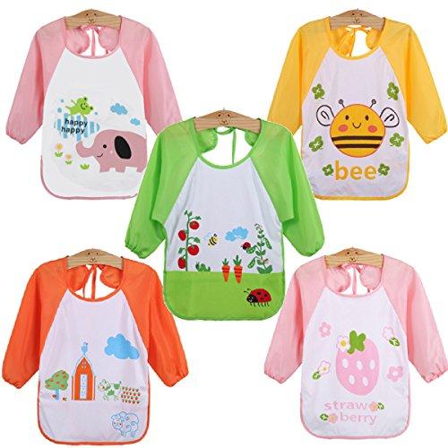 WeiterVor 5-Pack Wasserdicht Babylätzchen Langarmlätzchen mit Auffangschutz 1-3 Jahre (Mädchen 5 Stück)