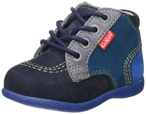 Kickers  Babystan, Chaussures Premiers Pas Bébé Garçon Bleu (Marine/Bleu)