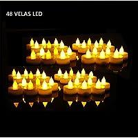 EverBrite Lot de 48 Bougies à LED Sans Flamme Decoration pour Table Soirée Anniversaire Mariage (Jaune Claire)