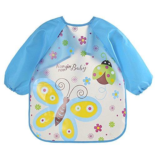 FeiliandaJJ Lätzchen Baby Toddler Bib Lange Ärmel Cartoon Muster Wasserdichtes Kinder Zeichnung Kittel Fütterung Zubehör (F)