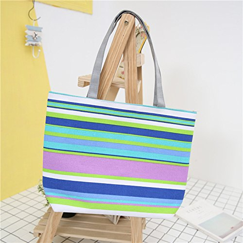 Meoaeo Neue Mode Freizeit Canvas Tasche Schultertasche Handtasche Streifen. Style two A