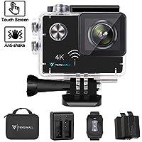 """Action Camera 4K WiFi, Tenswall Impermeabile Sport Camera 16MP 2.0"""" LCD Touchscreen Videocamera,Visione Notturna, Telecomando Wireless, 2 Batterie Ricaricabili Incluse"""