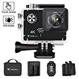 "Action Camera 4K WiFi, Tenswall Impermeabile Sport Camera 16MP 2.0"" LCD Touchscreen Videocamera, Visione Notturna, Telecomando Wireless, 2 Batterie Ricaricabili Incluse"