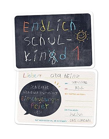 5 Einladungskarten Einschulung SCHULKING Schulkind