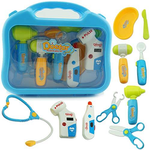 0Miaxudh Vorgeben, Spielzeug zu Spielen, Kinderrolle Pretend Play Doctor Medical Spielset, Tragetasche Stethoskop Spielzeug Blue No LED# (Baby Play Brille)