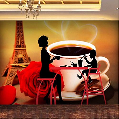 Lsfhb Individuelle Fototapeten Mode Paris Tower Of Coffee Silhouette Hintergrundbild Cafe Flur Dekoration Tapete-250X175Cm (Halloween Paris De Cafe)