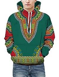 b616d9f32474 GouuoHi Uomini casual Unisex Lover Autunno Inverno Africano 3D Stampa  manica lunga Dashiki Felpa con cappuccio