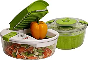 Unique Gadget Salad Chef Green and Clear Kitchen Tool Set - MSLDC