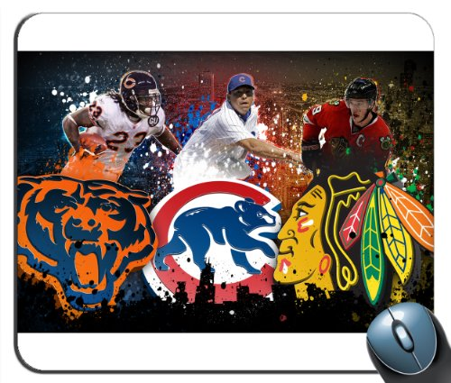 Custom Chicago Sports - Chicago Bears - Chicago Cubs - Blackhawks Mouse Pad g4215 -