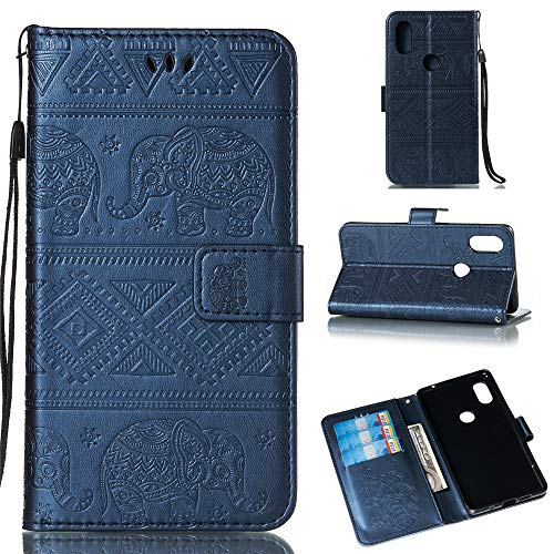 BestCatgift Mi Mix 2S Wallet Funda, [Embossed Elephants] Magnetic Protective PU Leather Flip Folio Cover para Xiaomi Mi Mix 2S - Blue