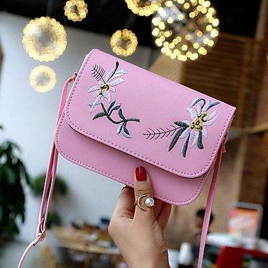 SUNNY KEY-Borsa a tracolla @ Donna Borsa a tracolla PU (Poliuretano) Poliestere Per tutte le stagioni Casual Rotondi Con fermaglio Bianco Nero Rosa , white blushing pink