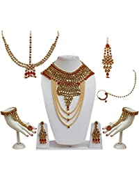 Lucky Jewellery Traditional Golden Red Color Layered Pearl And Stone Alloy Bridal Set For Girls & Women
