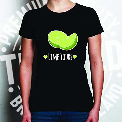 Lime Yours Nette Paare Valentines Love Heart Frauen T-Shirt Black