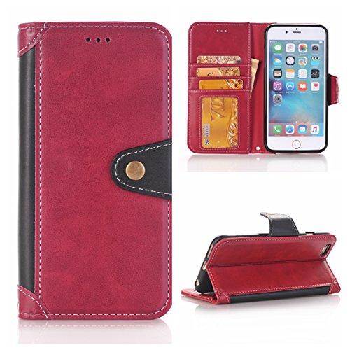iPhone 6 Plus/6S Plus Coque, Voguecase [PU + TPU] Étui en cuir synthétique chic avec fonction support pratique pour Apple iPhone 6 Plus/6S Plus 5.5 (Rose/Bleu)de Gratuit stylet l'écran aléatoire unive Rouge/Noir