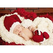 Fashion para recién nacidos Boy disfraz de niña bebé trajes fotografía  Props gorro de Navidad botas 9d5f3e9bda2