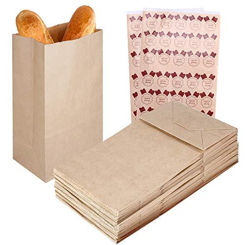 Braun Boden (HO2NLE 60PCS PapiertütenBraun Geschenktüten Tütchen 12 x 7 x 21 cm 70g Kleine Kraftpapiertüten Braune mit Boden Tütchen Papier Geschenktüten für Adventskalender Basteln Hochzeit 60 x Sticker)