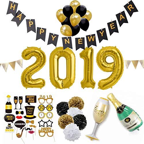 SicurezzaPrima Silvester 2019 Party Deko Set XXL - 44-teilig - Neujahr Silvesterdeko - Girlanden, XXL Mega Ballons, Pompoms, Foto, Fotorequisiten, Dekoration - schwarz, Gold