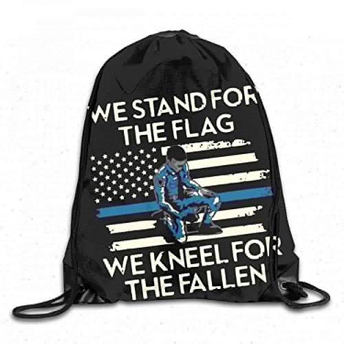 Bixungan We Stand for The Flag We Kneel for Fallen for Memorial Day Custom Drawstring Shoulder Bags Gym Bag Travel Backpack Lightweight