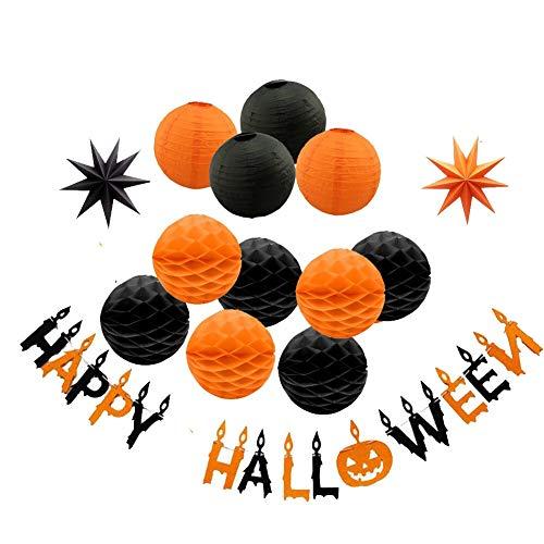 Anera Glücklich Halloween Party Lieferungen Kit,Happy Halloween Papier Laternen,Buchstaben Pull Banner, Hohl Papier Fan Blumen, Papier 3D starsand Wabenbälle & Luftballons (B)