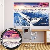Poster Alpen Panorama Wandbild Dekoration Winter Sonnenuntergang Schnee Landschaft Natur Berge Gletscher Gebirge Gipfel | Wandposter Fotoposter Wanddeko Bild Wandgestaltung by GREAT ART (140 x 100 cm)