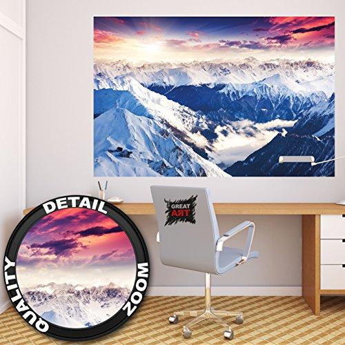 Poster Alpen Panorama Wandbild Dekoration Winter Sonnenuntergang Schnee Landschaft Natur Berge Gletscher Gebirge Gipfel | Wandposter Fotoposter Wanddeko Bild Wandgestaltung by GREAT ART (140 x 100 cm) (Schnee Berg Bilder)