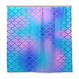 BALII Glitzer Meerjungfrau Maßstab Schwanz Duschvorhang 182,9x 182,9cm Polyester Wasserdicht mit 12Haken für Badezimmer