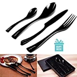 AckMond Stainless Steel Cutlery Set, Silverware Set for 1 Person, Kitchen Silverware Cutlery Tableware Dinnerware Anti-rust Black Utensil Set, Steak Knife Set with Gift Box Package