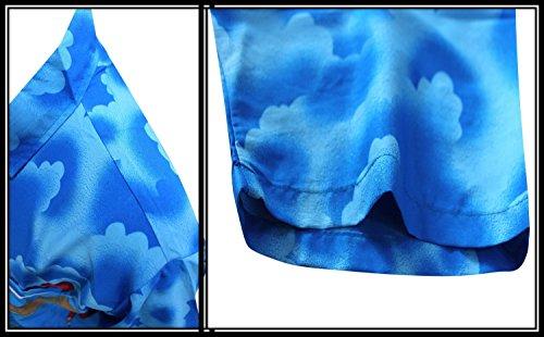 La Leela Strand Hawaiihemd Herren XS - 5XL Kurzarm Front-Tasche Hawaii-Print Casual Button Down Hemd Blau Blau - Blau Flamingo