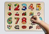 Holzzpuzzle Steckpuzzle Einlegepuzzle Zahlen ab 3 Jahre bunte Nummer pädagogische Lernspielzeug Kinder Geschenk