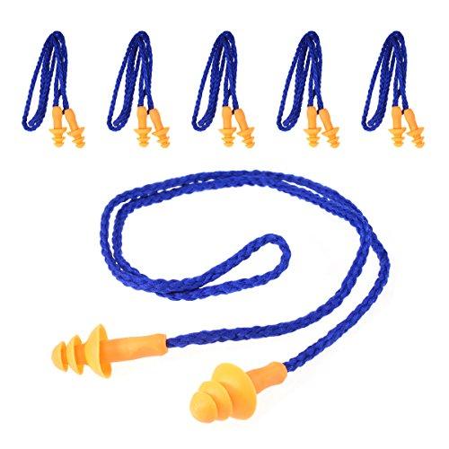 Tankerstreet Ohrstöpsel Schlafen Silikon Gegen Schnarchen Kinder, Ohrstöpsel Fliegen Gehörschutz Weich Komfortabel mit Faden 5 paar blau