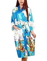 Dolamen Mujer Vestido Kimono Satén, Camisón para Mujer, Geisha & Flores Robe Albornoz Dama de Honor Ropa de Dormir Pijama, Estilo Largo &…