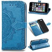 YKTO Funda iPhone 5 SE 5S 4.0 Pulgadas Artificial Suave Cuero Cierre Magnético Cover Soporte Plegable