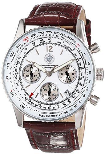 Constantin Durmont Air Commander CD-AIRC-QZ-LT-STST-WH - Reloj cronógrafo de cuarzo para hombre, correa de cuero color marrón (cronómetro)