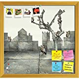 ArtzFolio Clock & Small Mechanical Owls 1 Printed Bulletin Board Notice Pin Board cum Golden Framed Painting 12.4 x 12inch
