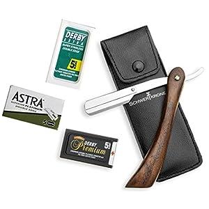 Schwertkrone Rasiermesser Wechselklinge Holzgriff 15,1 cm inkl 30 Rasierklingen (Klingen brechen) Astra Derby Extra Derby Premium