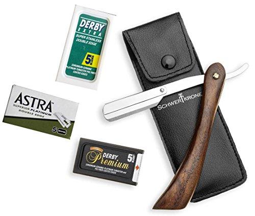 Schwertkrone Rasiermesser Wechselklinge Holzgriff 15,1 cm inkl 30 Rasierklingen von Astra Derby...