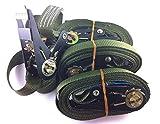 OVK–Juego de 4 correas de remolque con trinquete, longitud 4–6m, hasta 800kg, EN 12195-2 5 m oliva