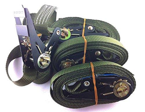 timtina® Juego de 4 correas de amarre con trinquetes, diferentes colores para elegir, 800kg, 4metros, conforme a la norma EN12195-2(6m, color verde)